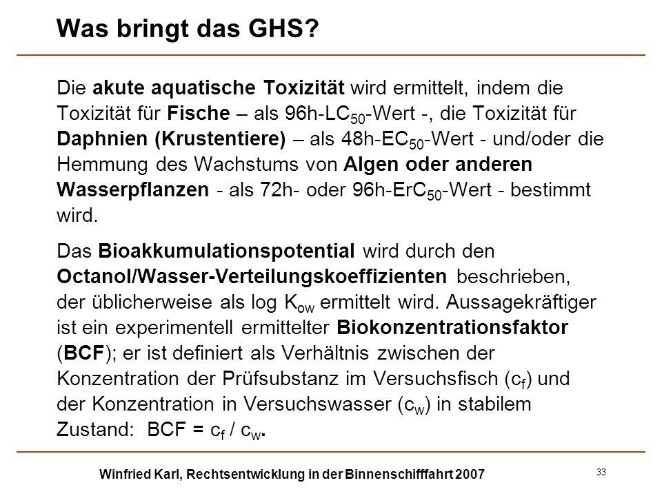 Winfried Karl, Rechtsentwicklung in der Binnenschifffahrt 2007 33 Was bringt das GHS? Die akute aquatische Toxizität wird ermittelt, indem die Toxizit