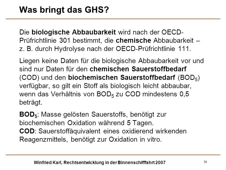 Winfried Karl, Rechtsentwicklung in der Binnenschifffahrt 2007 34 Was bringt das GHS? Die biologische Abbaubarkeit wird nach der OECD- Prüfrichtlinie