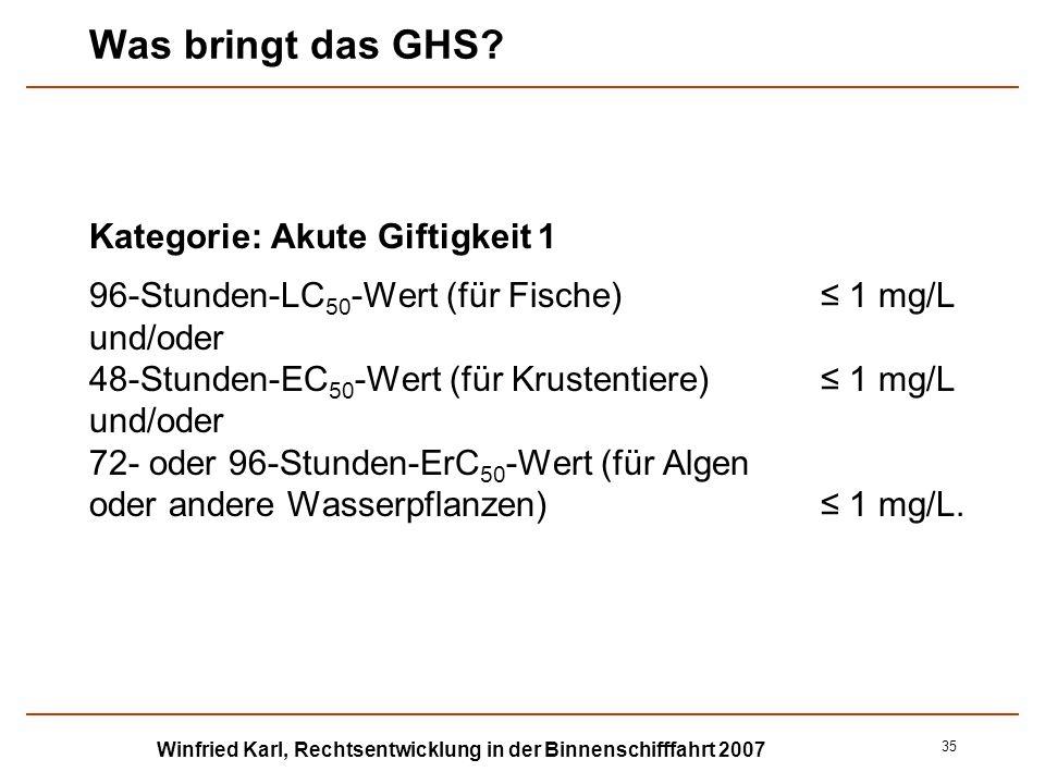 Winfried Karl, Rechtsentwicklung in der Binnenschifffahrt 2007 35 Was bringt das GHS? Kategorie: Akute Giftigkeit 1 96-Stunden-LC 50 -Wert (für Fische