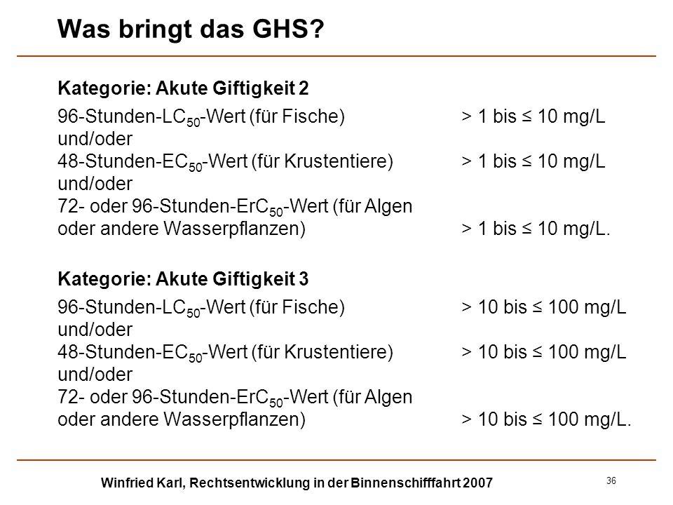 Winfried Karl, Rechtsentwicklung in der Binnenschifffahrt 2007 36 Was bringt das GHS? Kategorie: Akute Giftigkeit 2 96-Stunden-LC 50 -Wert (für Fische