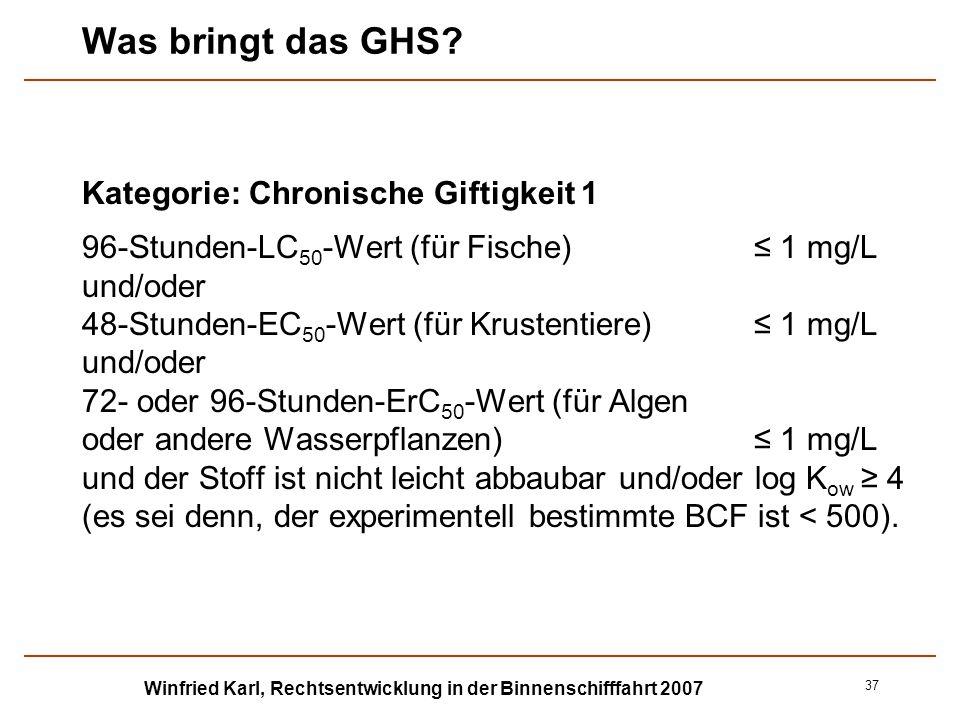 Winfried Karl, Rechtsentwicklung in der Binnenschifffahrt 2007 37 Was bringt das GHS? Kategorie: Chronische Giftigkeit 1 96-Stunden-LC 50 -Wert (für F