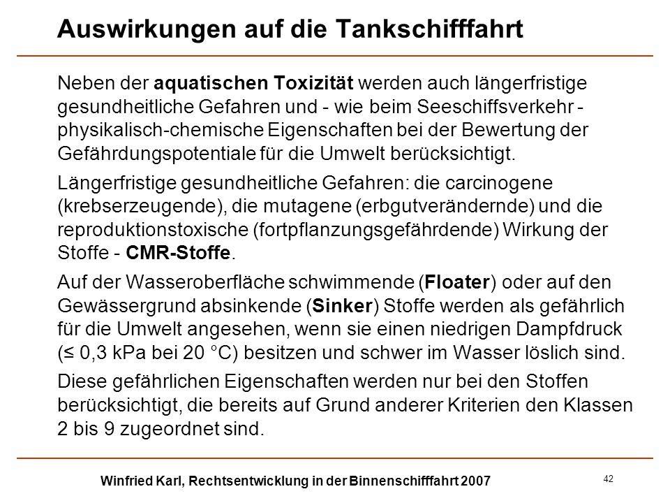 Winfried Karl, Rechtsentwicklung in der Binnenschifffahrt 2007 42 Auswirkungen auf die Tankschifffahrt Neben der aquatischen Toxizität werden auch län