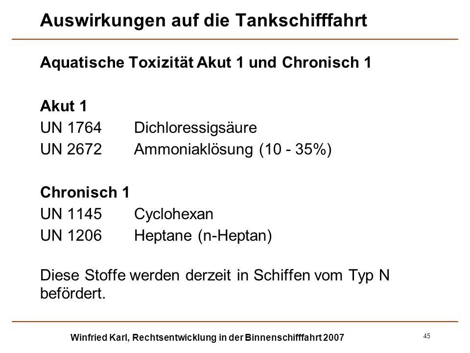 Winfried Karl, Rechtsentwicklung in der Binnenschifffahrt 2007 45 Auswirkungen auf die Tankschifffahrt Aquatische Toxizität Akut 1 und Chronisch 1 Aku