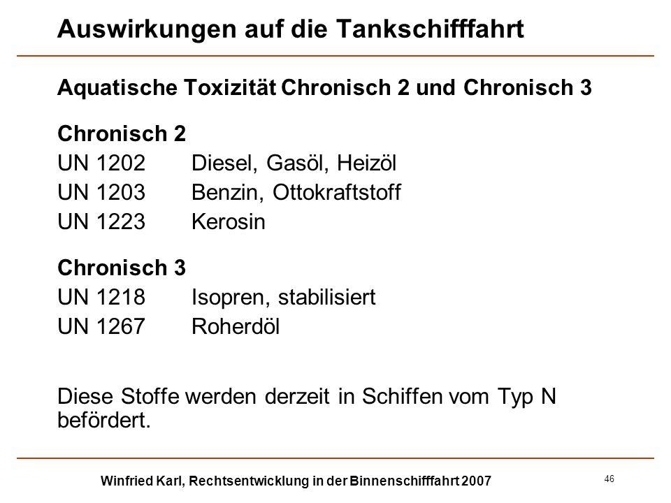Winfried Karl, Rechtsentwicklung in der Binnenschifffahrt 2007 46 Auswirkungen auf die Tankschifffahrt Aquatische Toxizität Chronisch 2 und Chronisch
