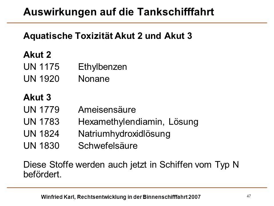 Winfried Karl, Rechtsentwicklung in der Binnenschifffahrt 2007 47 Auswirkungen auf die Tankschifffahrt Aquatische Toxizität Akut 2 und Akut 3 Akut 2 U