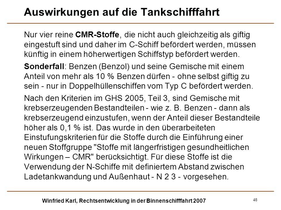 Winfried Karl, Rechtsentwicklung in der Binnenschifffahrt 2007 48 Auswirkungen auf die Tankschifffahrt Nur vier reine CMR-Stoffe, die nicht auch gleic