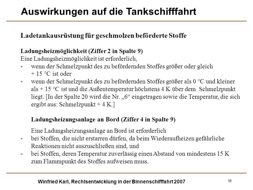 Winfried Karl, Rechtsentwicklung in der Binnenschifffahrt 2007 58 Ladetankausrüstung für geschmolzen beförderte Stoffe Ladungsheizmöglichkeit (Ziffer