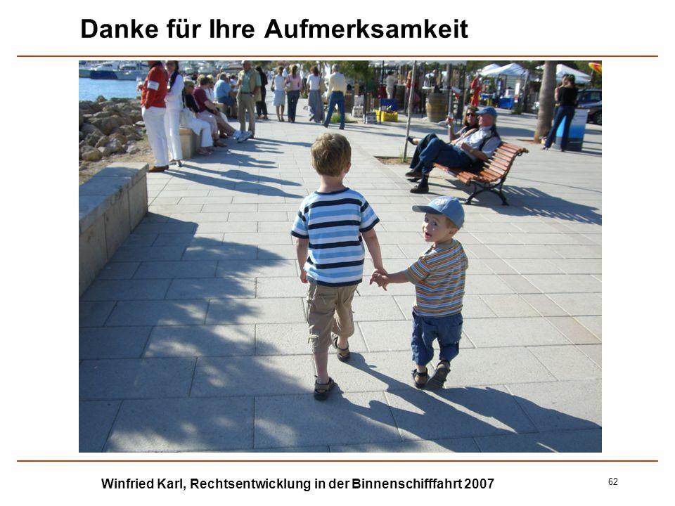 Winfried Karl, Rechtsentwicklung in der Binnenschifffahrt 2007 62 Danke für Ihre Aufmerksamkeit