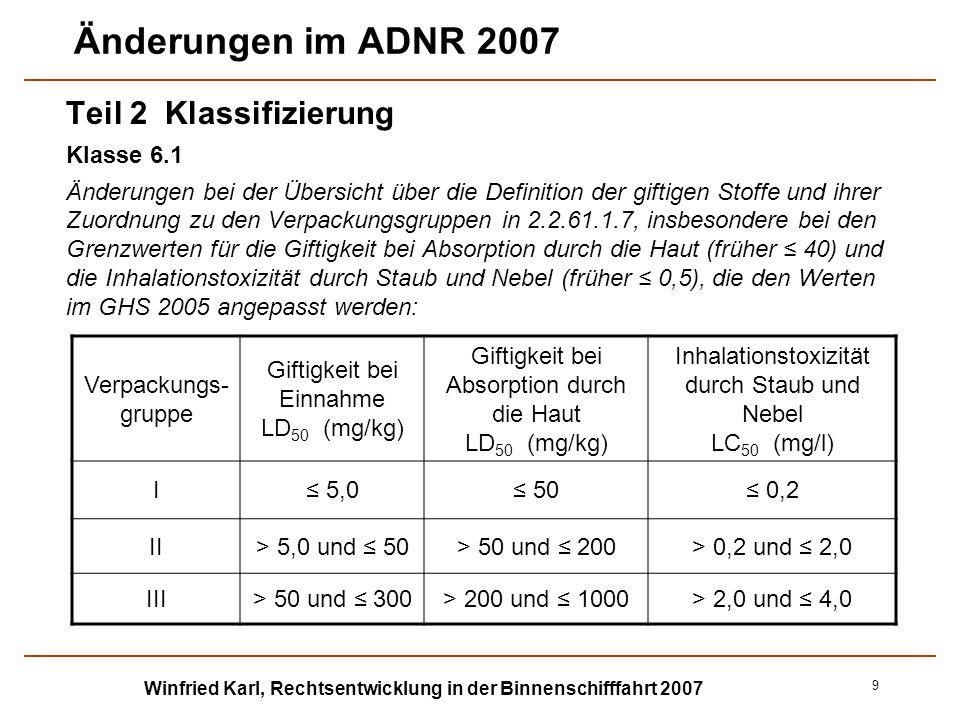 Winfried Karl, Rechtsentwicklung in der Binnenschifffahrt 2007 10 Änderungen im ADNR 2007 Teil 2 Klassifizierung Klasse 6.2 Viele Änderungen teilweise redaktioneller Art, Umbenennung eingeführter Begriffe durch neue andere Begriffe - z.