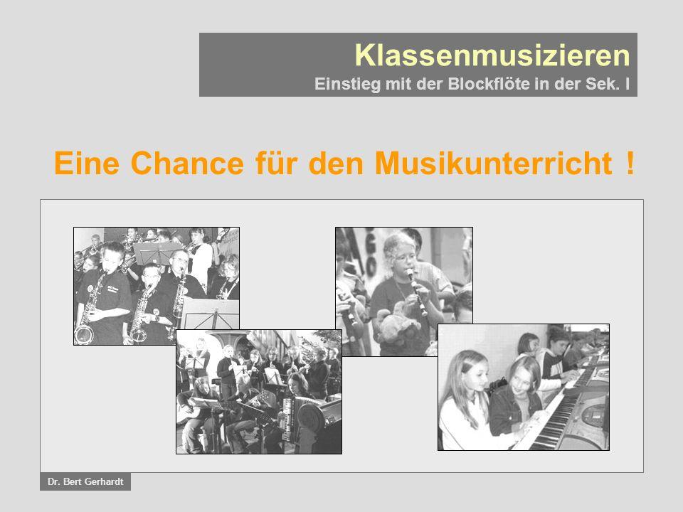 Eine Chance für den Musikunterricht .Klassenmusizieren Einstieg mit der Blockflöte in der Sek.
