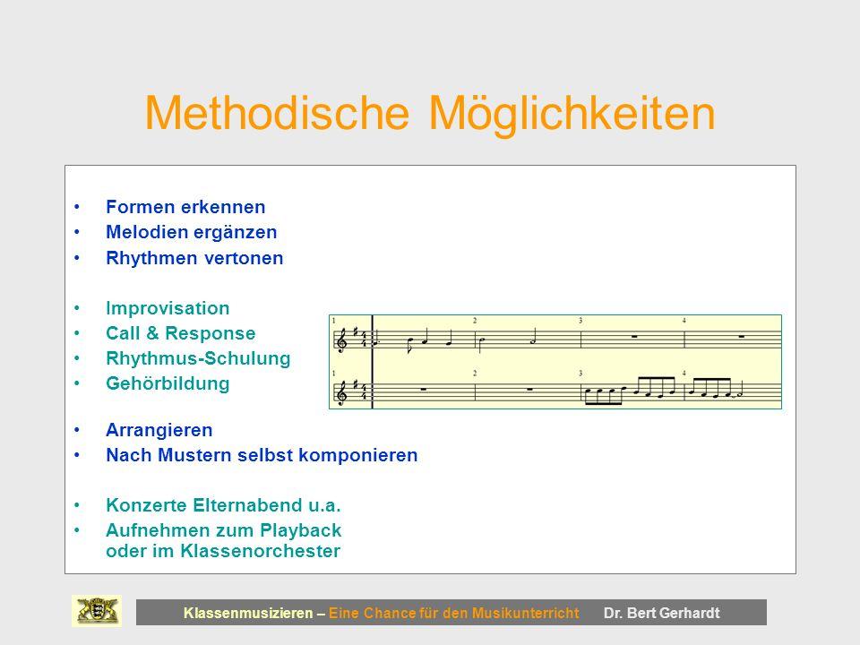 Methodische Möglichkeiten Formen erkennen Melodien ergänzen Rhythmen vertonen Improvisation Call & Response Rhythmus-Schulung Gehörbildung Arrangieren Nach Mustern selbst komponieren Konzerte Elternabend u.a.