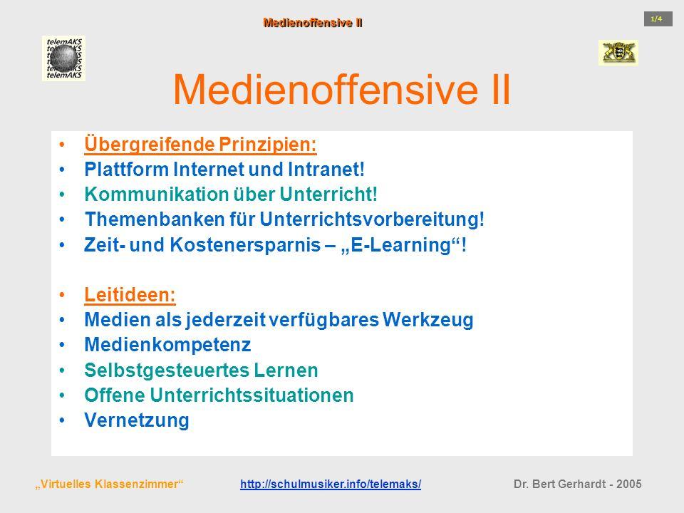 Medienoffensive II Übergreifende Prinzipien: Plattform Internet und Intranet! Kommunikation über Unterricht! Themenbanken für Unterrichtsvorbereitung!