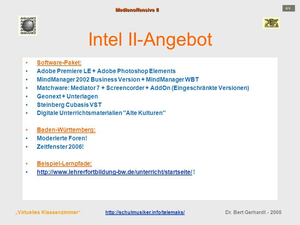 Intel II-Angebot Software-Paket: Adobe Premiere LE + Adobe Photoshop Elements MindManager 2002 Business Version + MindManager WBT Matchware: Mediator