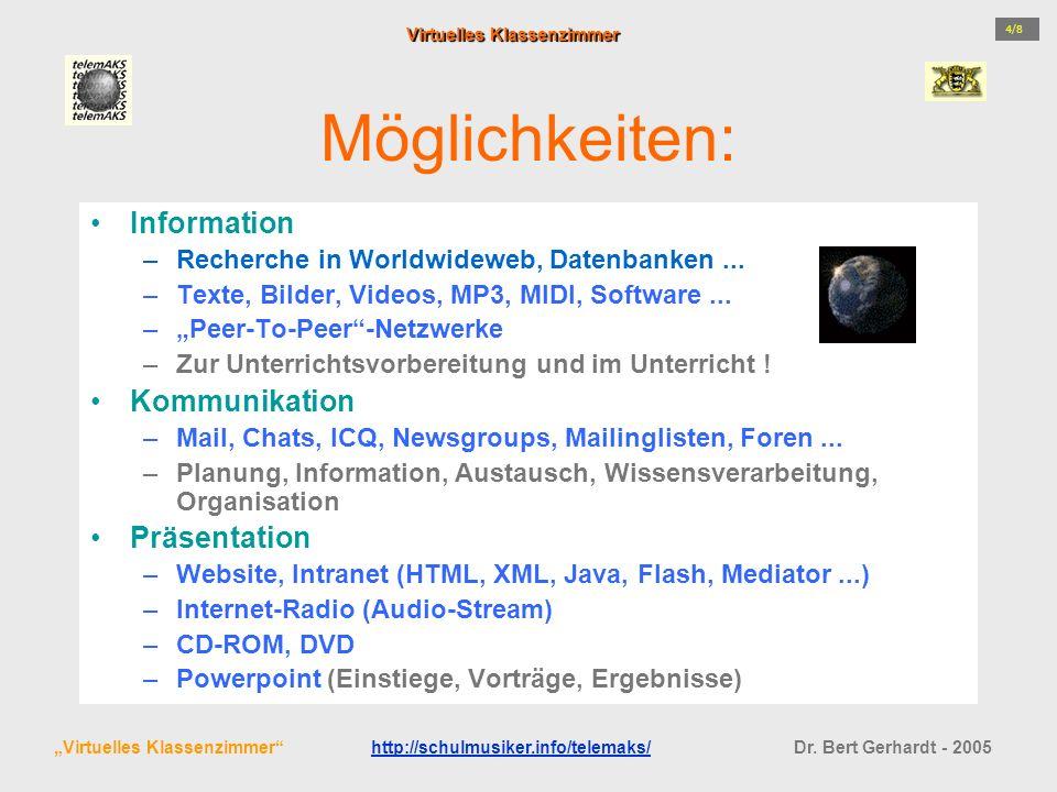 Möglichkeiten: Information –Recherche in Worldwideweb, Datenbanken... –Texte, Bilder, Videos, MP3, MIDI, Software... –Peer-To-Peer-Netzwerke –Zur Unte