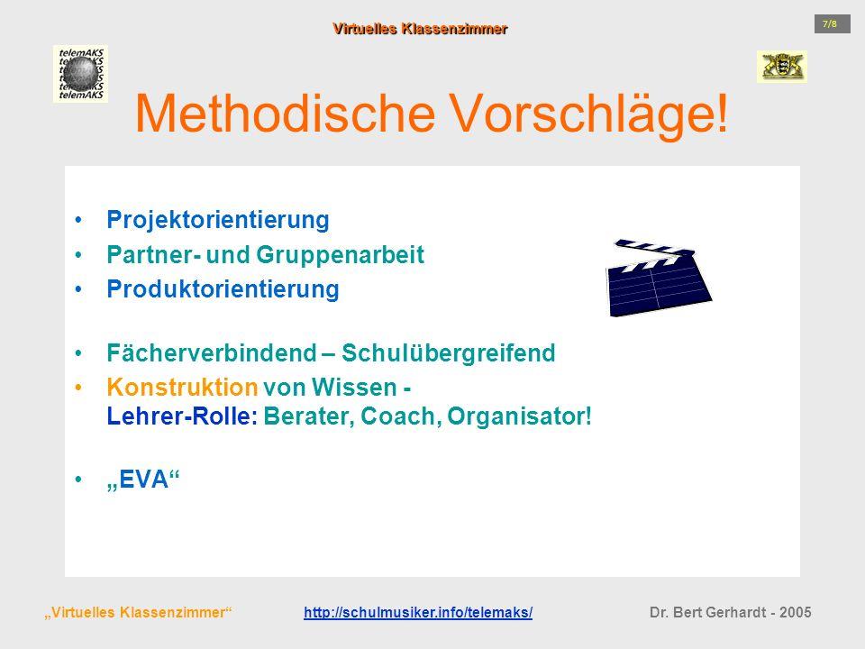 Methodische Vorschläge! Projektorientierung Partner- und Gruppenarbeit Produktorientierung Fächerverbindend – Schulübergreifend Konstruktion von Wisse