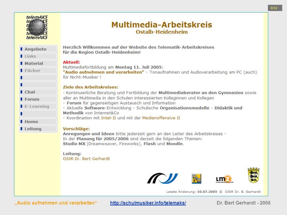 Audio aufnehmen und verarbeiten http://schulmusiker.info/telemaks/ Dr. Bert Gerhardt - 2005http://schulmusiker.info/telemaks/ 3/12