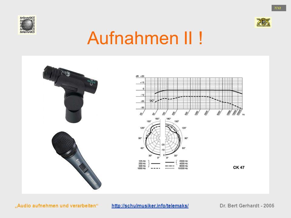 Aufnahmen II ! Audio aufnehmen und verarbeiten http://schulmusiker.info/telemaks/ Dr. Bert Gerhardt - 2005http://schulmusiker.info/telemaks/ 7/12