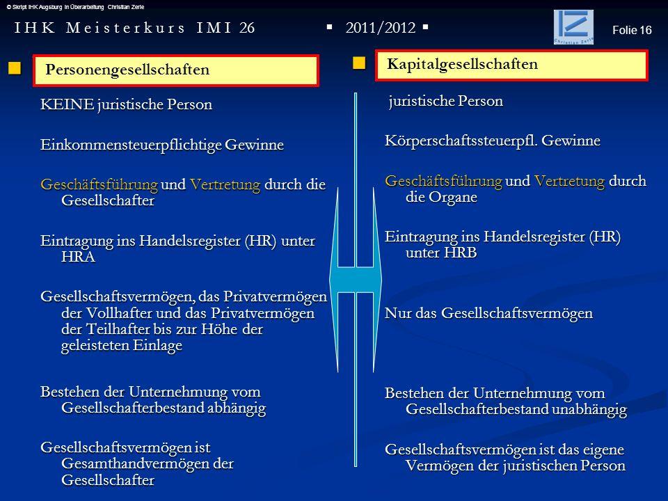 Folie 16 I H K M e i s t e r k u r s I M I 26 2011/2012 © Skript IHK Augsburg in Überarbeitung Christian Zerle P KEINE juristische Person Einkommenste