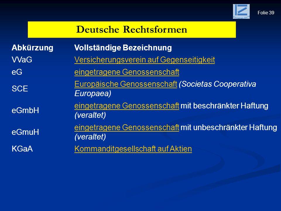 Folie 39 AbkürzungVollständige Bezeichnung VVaGVersicherungsverein auf Gegenseitigkeit eGeingetragene Genossenschaft SCE Europäische GenossenschaftEur