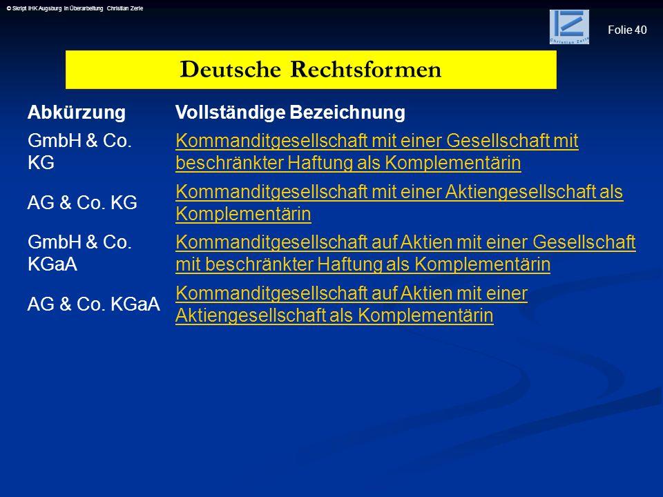 Folie 40 © Skript IHK Augsburg in Überarbeitung Christian Zerle AbkürzungVollständige Bezeichnung GmbH & Co. KG Kommanditgesellschaft mit einer Gesell