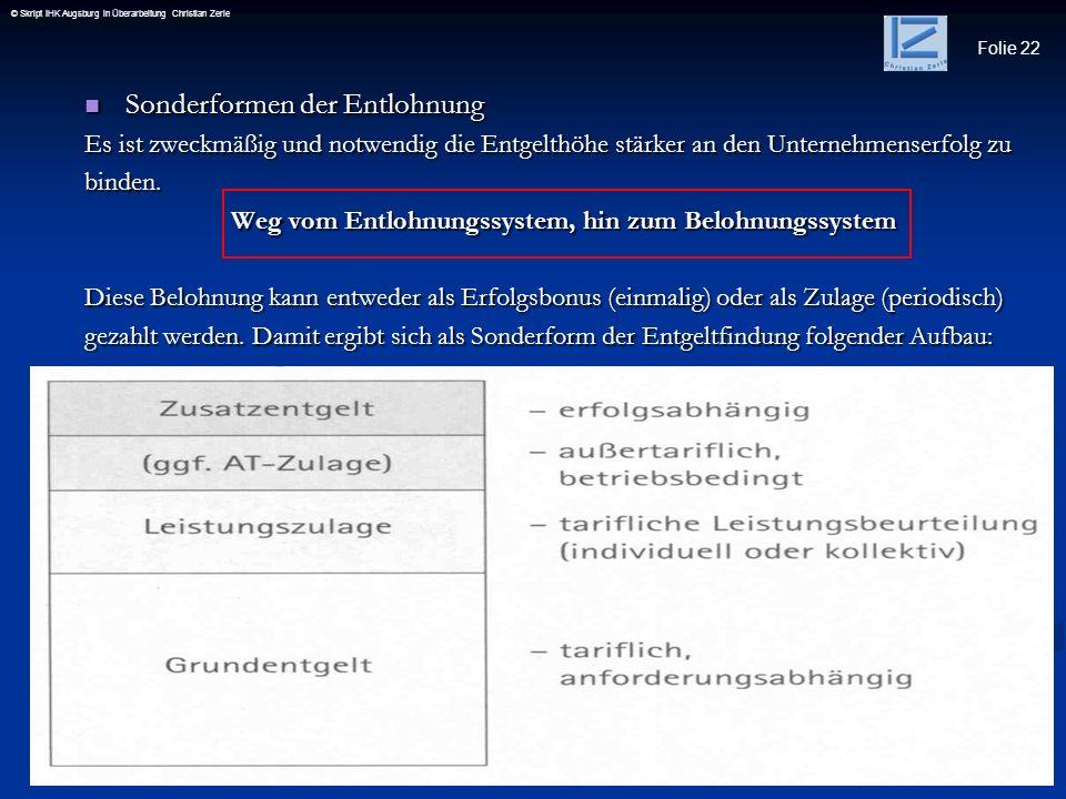 Folie 22 © Skript IHK Augsburg in Überarbeitung Christian Zerle Sonderformen der Entlohnung Sonderformen der Entlohnung Es ist zweckmäßig und notwendi