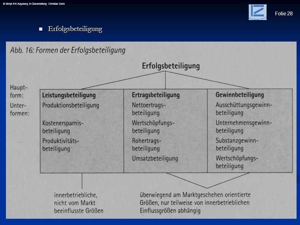 Folie 28 © Skript IHK Augsburg in Überarbeitung Christian Zerle Erfolgsbeteiligung Erfolgsbeteiligung