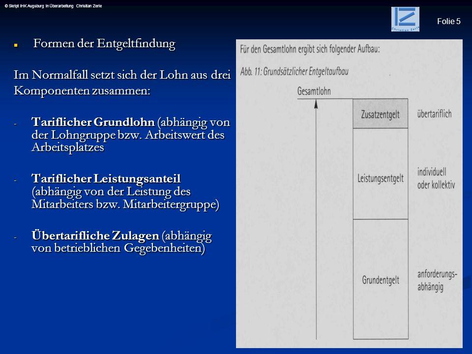 Folie 5 © Skript IHK Augsburg in Überarbeitung Christian Zerle Formen der Entgeltfindung Formen der Entgeltfindung Im Normalfall setzt sich der Lohn a