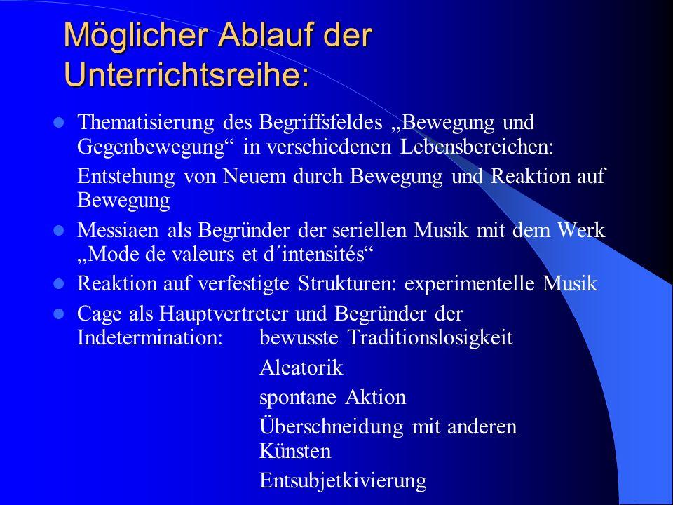 Möglicher Ablauf der Unterrichtsreihe: Thematisierung des Begriffsfeldes Bewegung und Gegenbewegung in verschiedenen Lebensbereichen: Entstehung von N