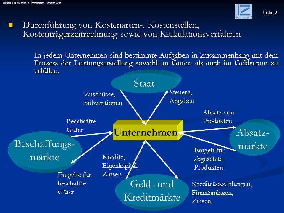 Folie 2 © Skript IHK Augsburg in Überarbeitung Christian Zerle Durchführung von Kostenarten-, Kostenstellen, Kostenträgerzeitrechnung sowie von Kalkul