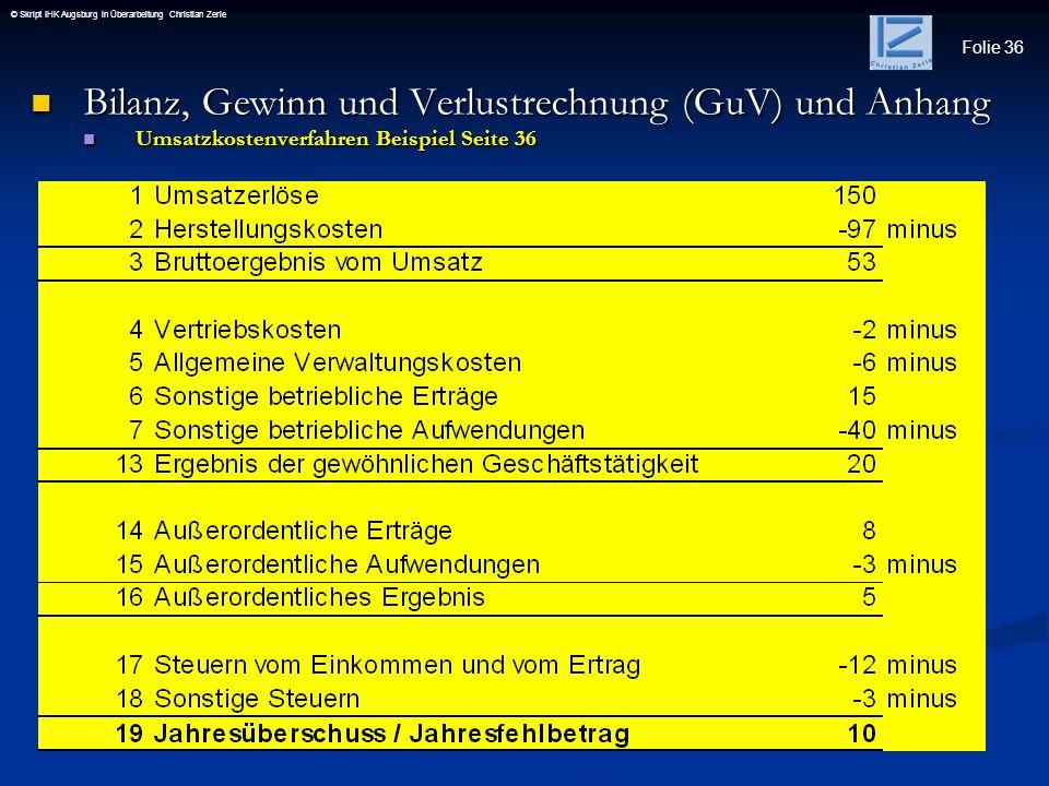 Folie 36 © Skript IHK Augsburg in Überarbeitung Christian Zerle Bilanz, Gewinn und Verlustrechnung (GuV) und Anhang Bilanz, Gewinn und Verlustrechnung
