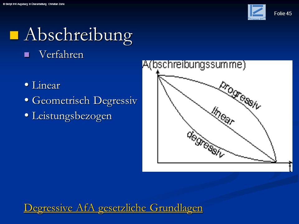 Folie 45 © Skript IHK Augsburg in Überarbeitung Christian Zerle Abschreibung Abschreibung Verfahren Verfahren Linear Linear Geometrisch Degressiv Geom