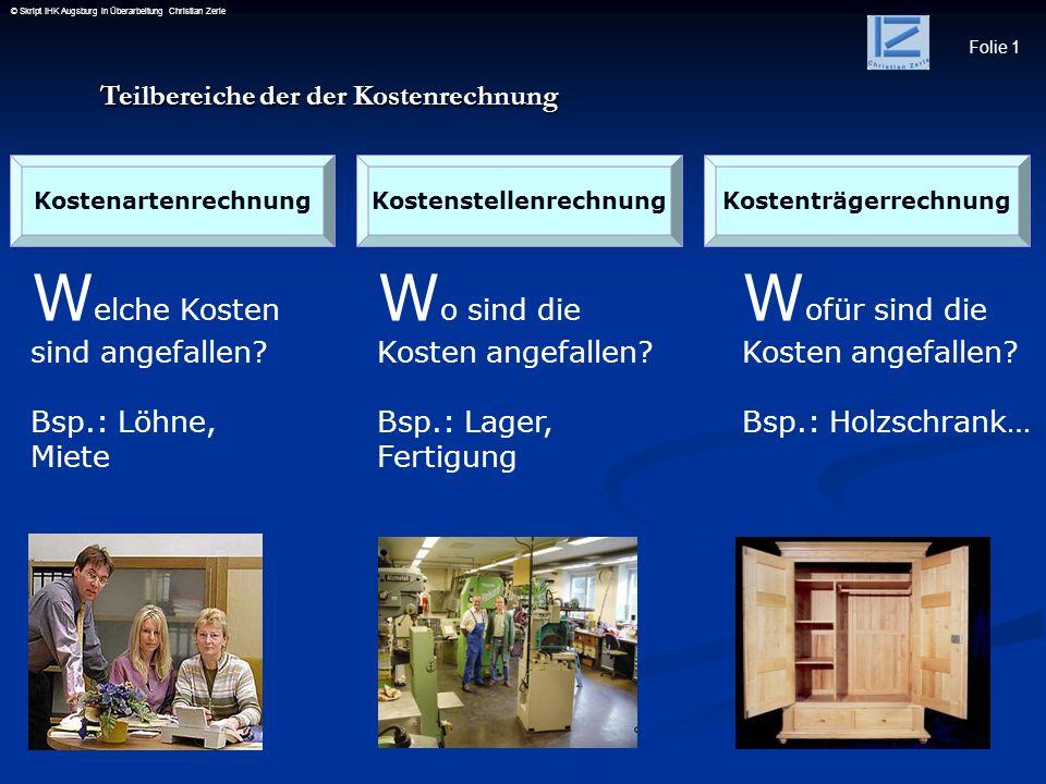 Folie 1 © Skript IHK Augsburg in Überarbeitung Christian Zerle KostenartenrechnungKostenstellenrechnungKostenträgerrechnung W elche Kosten sind angefa