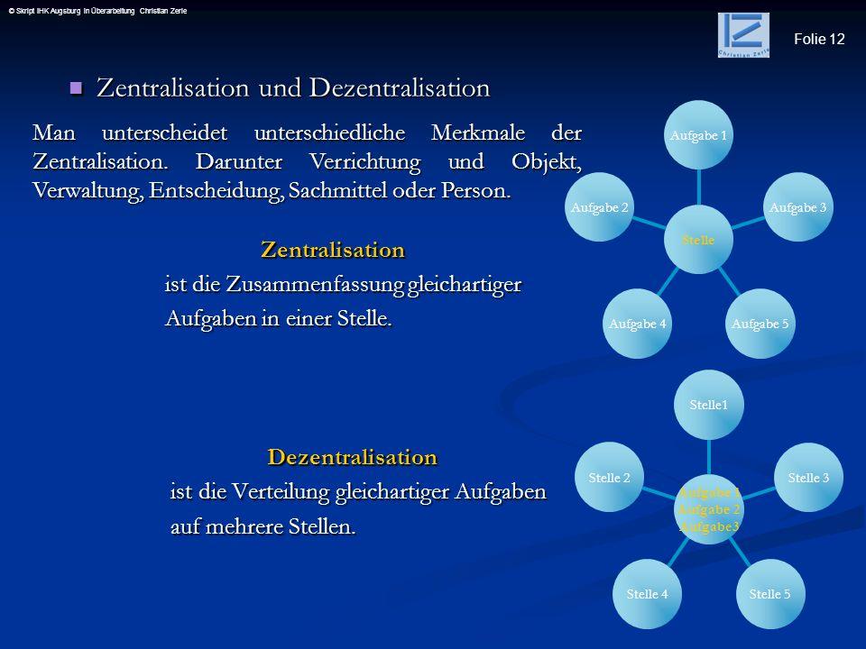 Folie 12 © Skript IHK Augsburg in Überarbeitung Christian Zerle Zentralisation und Dezentralisation Zentralisation und Dezentralisation Zentralisation