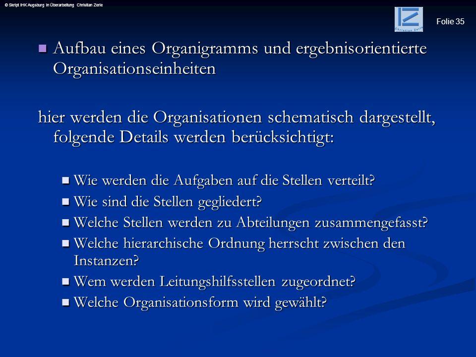 Folie 35 © Skript IHK Augsburg in Überarbeitung Christian Zerle Aufbau eines Organigramms und ergebnisorientierte Organisationseinheiten Aufbau eines