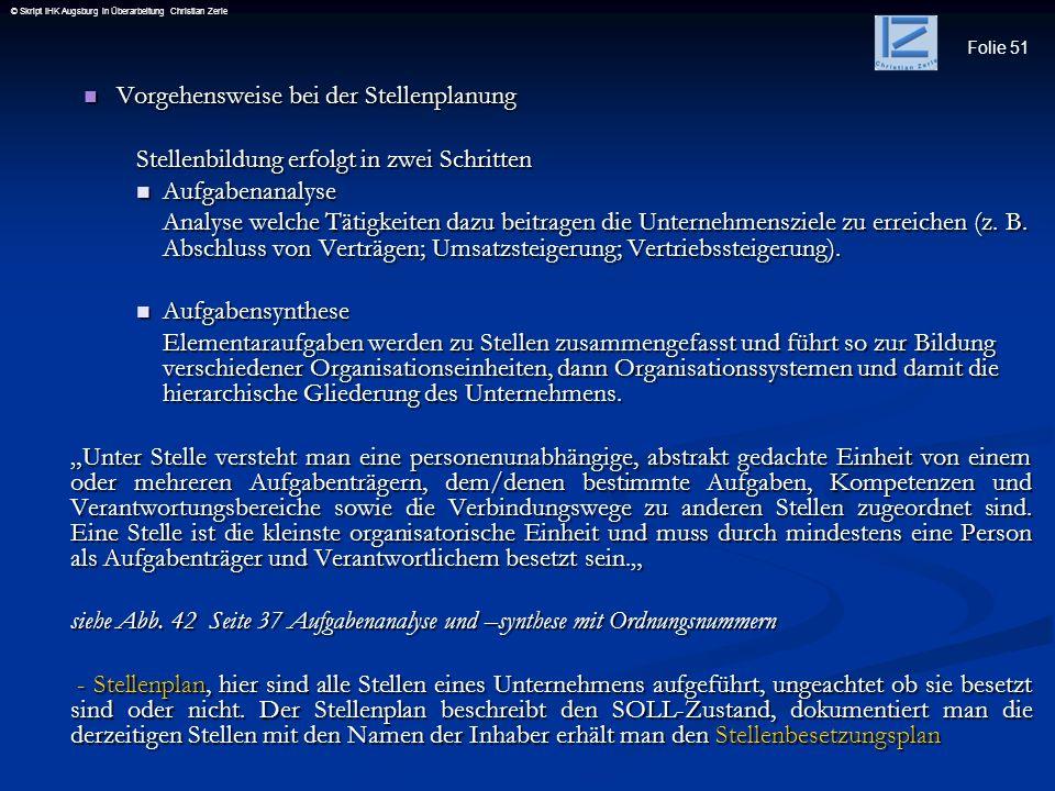 Folie 51 © Skript IHK Augsburg in Überarbeitung Christian Zerle Vorgehensweise bei der Stellenplanung Vorgehensweise bei der Stellenplanung Stellenbil