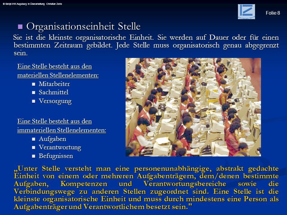 Folie 39 © Skript IHK Augsburg in Überarbeitung Christian ZerleFunktional Hier werden die Einheiten auf der zweiten Hirarchieebene unterhalb der Unternehmensleitung einer Organisation nach Prozessen (=Vorgängen) organisiert.