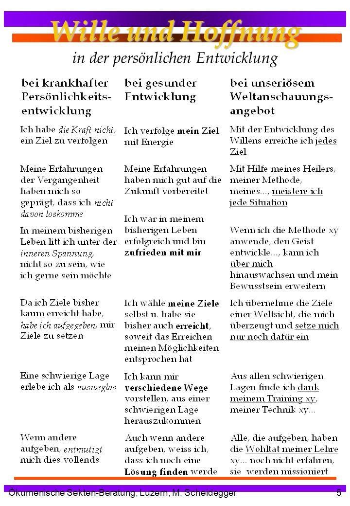 Ökumenische Sekten-Beratung, Luzern, M. Scheidegger5 Wille und Hoffnung Wille und Hoffnung in der persönlichen Entwicklung
