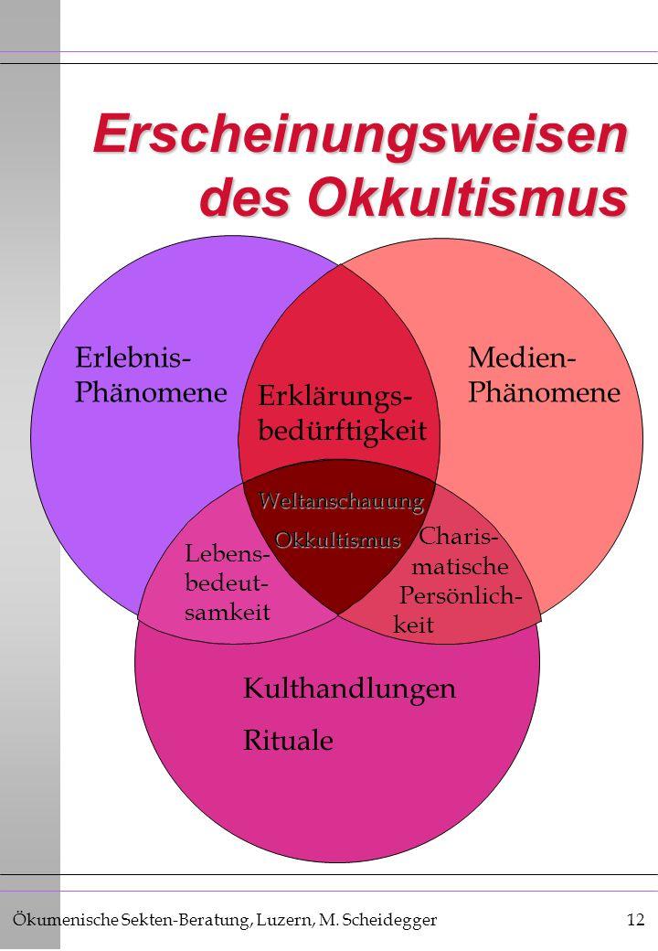 Ökumenische Sekten-Beratung, Luzern, M. Scheidegger12 Erscheinungsweisen des Okkultismus Erlebnis- Phänomene Erklärungs- bedürftigkeit Medien- Phänome