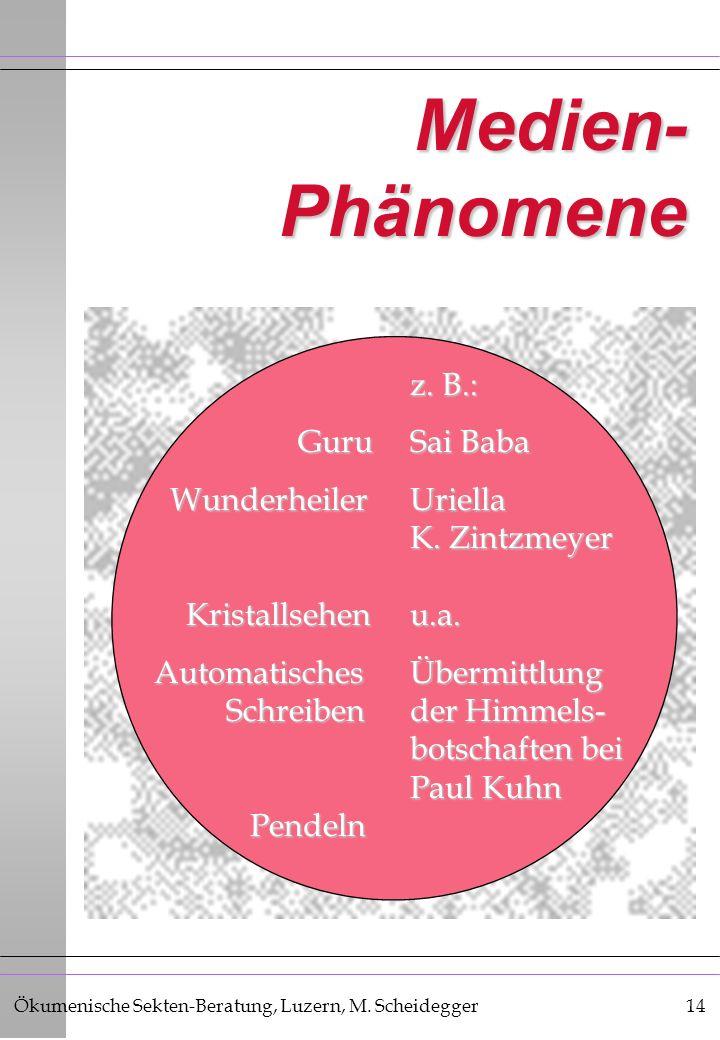 Ökumenische Sekten-Beratung, Luzern, M. Scheidegger14 Medien- Phänomene z. B.: GuruSai Baba GuruSai Baba WunderheilerUriella WunderheilerUriella K. Zi