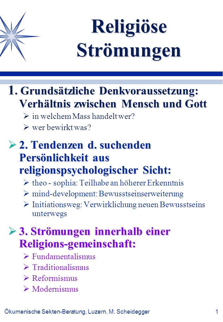 Ökumenische Sekten-Beratung, Luzern, M. Scheidegger 1 Religiöse Strömungen 1. Grundsätzliche Denkvoraussetzung: Verhältnis zwischen Mensch und Gott in