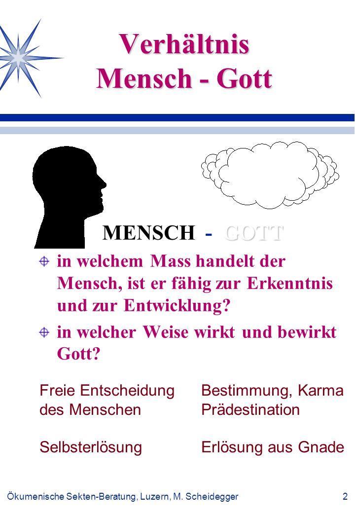 Ökumenische Sekten-Beratung, Luzern, M. Scheidegger 2 Verhältnis Mensch - Gott GOTT MENSCH - GOTT in welchem Mass handelt der Mensch, ist er fähig zur