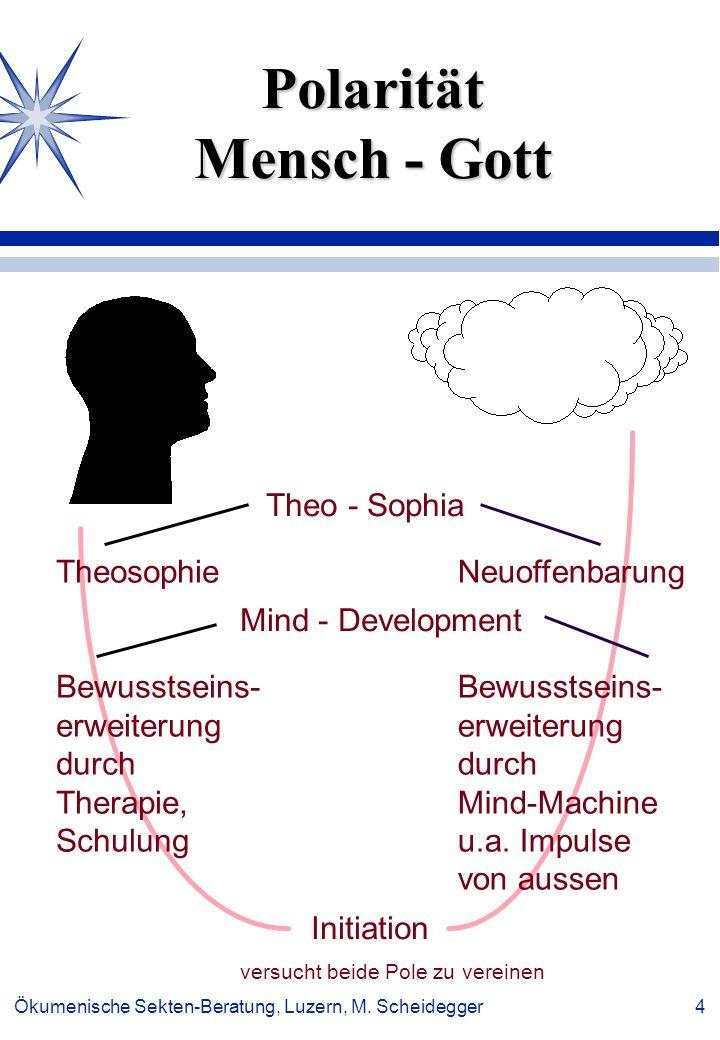 Ökumenische Sekten-Beratung, Luzern, M. Scheidegger 4 Polarität Mensch - Gott Theo - Sophia Mind - Development Initiation versucht beide Pole zu verei
