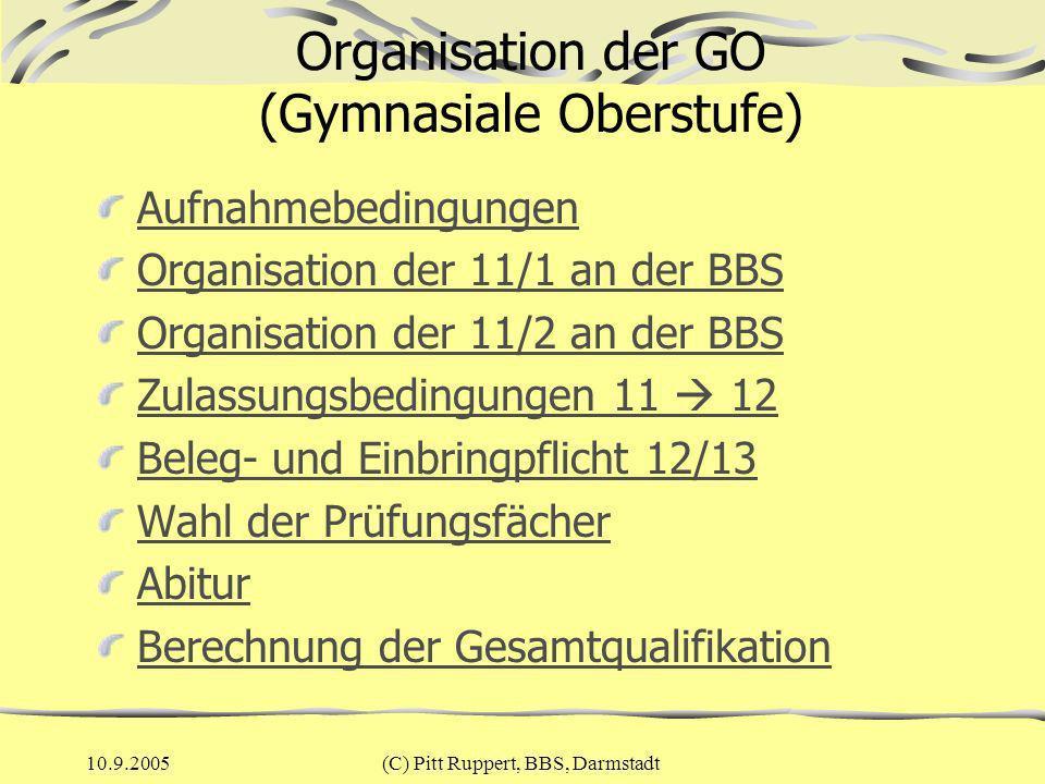 10.9.2005(C) Pitt Ruppert, BBS, Darmstadt Aufnahmebedingungen Versetzungszeugnis in die Jgst.