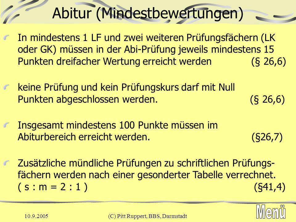 10.9.2005(C) Pitt Ruppert, BBS, Darmstadt Berechnung der Gesamtqualifikation (§ 26,6) blau: Multiplikator Leistungskursemind.