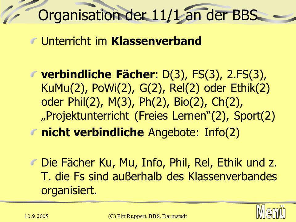 10.9.2005(C) Pitt Ruppert, BBS, Darmstadt Organisation der 11/2 an der BBS Kurssystem mit Wahl von Verstärkungskursen Fächer wie in 11/1 Verstärkungskurse 4-std.