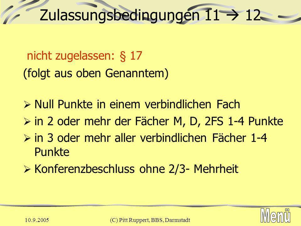 10.9.2005(C) Pitt Ruppert, BBS, Darmstadt Beleg- und Einbringpflicht 12/13 FachBelegungEinbringenWstd / Bemerkung D444-std.