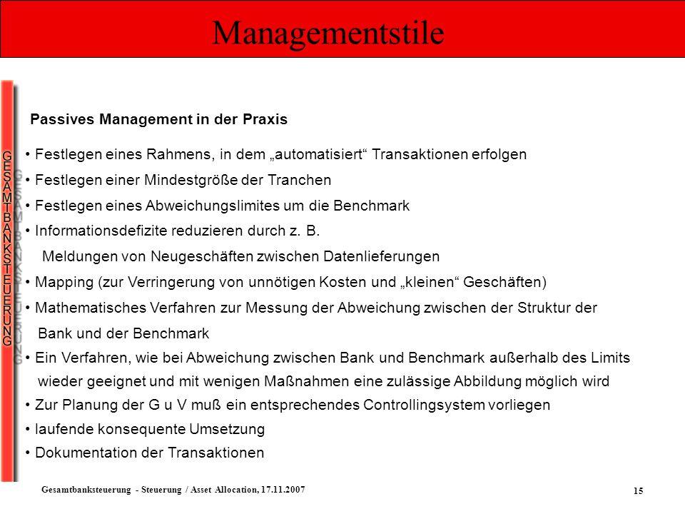 15 Gesamtbanksteuerung - Steuerung / Asset Allocation, 17.11.2007 Managementstile Passives Management in der Praxis Festlegen eines Rahmens, in dem au