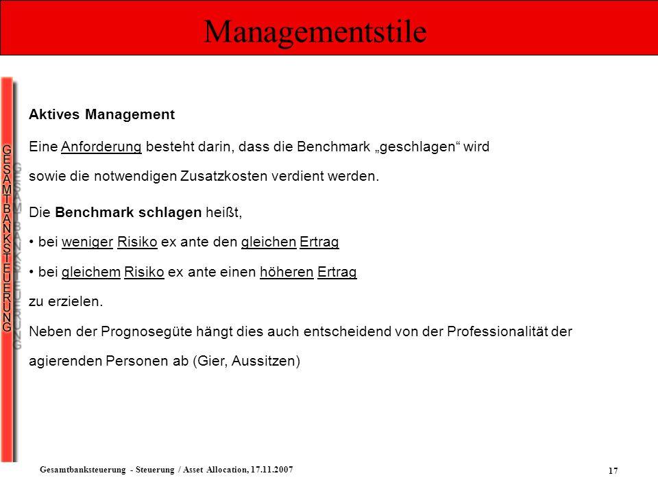 17 Gesamtbanksteuerung - Steuerung / Asset Allocation, 17.11.2007 Managementstile Aktives Management Eine Anforderung besteht darin, dass die Benchmar