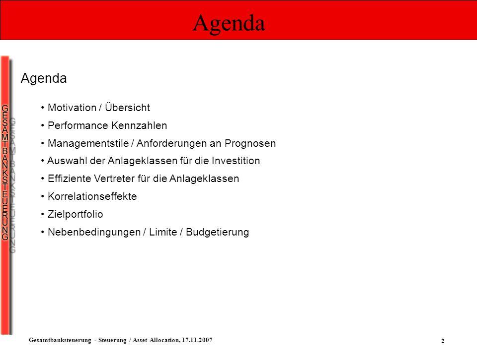 2 Gesamtbanksteuerung - Steuerung / Asset Allocation, 17.11.2007 Agenda Motivation / Übersicht Performance Kennzahlen Managementstile / Anforderungen