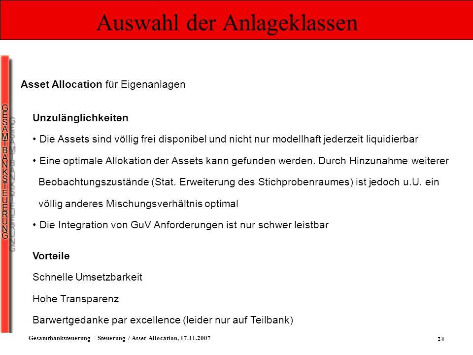24 Gesamtbanksteuerung - Steuerung / Asset Allocation, 17.11.2007 Auswahl der Anlageklassen Asset Allocation für Eigenanlagen Unzulänglichkeiten Die A